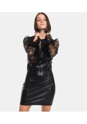 Lina Dress Lace and Leather Black