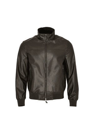 Brioni Leather Reversible Jacket (Brown / Black)