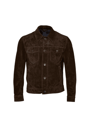 Brioni Suede Front Pocket Jacket (Brown)