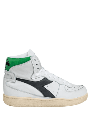 WHITE AND GREEN LEATHER HIGH SNEAKERS