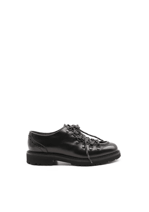 DOUCAL'S MEN'S DU2135PHILUD087 BLACK LEATHER LACE-UP SHOES
