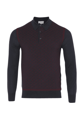 Brioni Long Sleeve 'B' Link Wool Polo (Bordeaux & Navy)