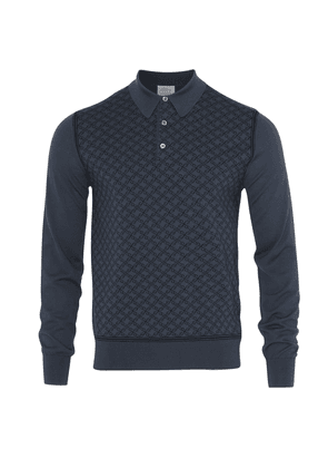 Brioni Long Sleeve 'B' Link Wool Polo (Blue)