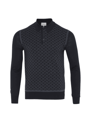 Brioni Long Sleeve 'B' Link Wool Polo (Navy)