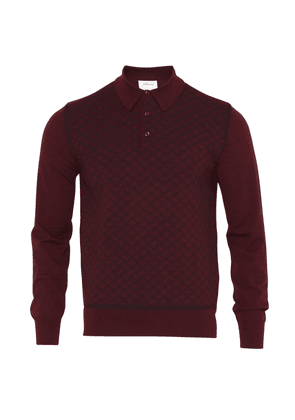 Brioni Long Sleeve 'B' Link Wool Polo (Bordeaux)