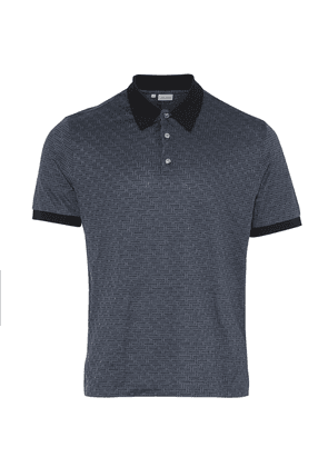 Brioni Short Sleeve Silk & Cotton Twill Print Polo (Navy)