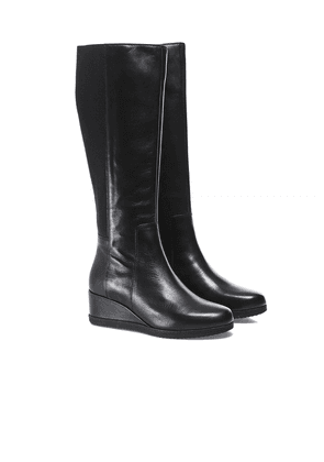 Geox Anylla Leather Wedge Boots Colour: Black