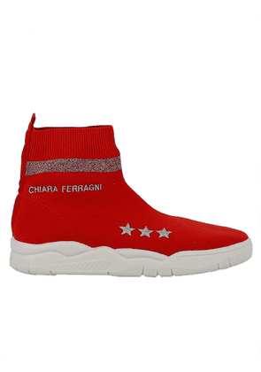 CHIARA FERRAGNI WOMEN'S CF1947RED RED FABRIC ANKLE BOOTS