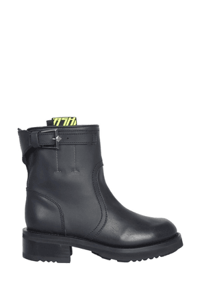 ASH WOMEN'S TYCOONWAXYBLACK BLACK LEATHER ANKLE BOOTS
