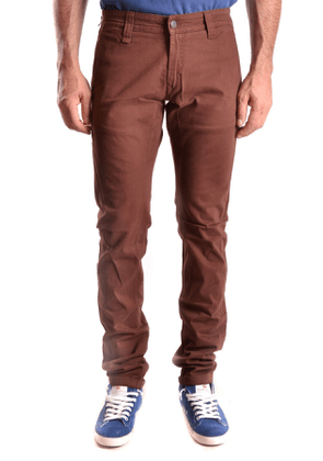 DANIELE ALESSANDRINI MEN'S MCBI26746 BROWN COTTON PANTS