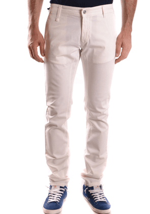 DANIELE ALESSANDRINI MEN'S MCBI26633 WHITE COTTON PANTS