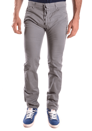 DANIELE ALESSANDRINI MEN'S MCBI26623 GREY COTTON PANTS