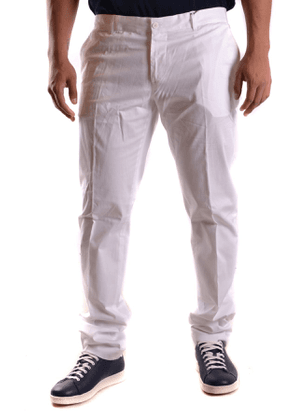 DANIELE ALESSANDRINI MEN'S MCBI26984 WHITE COTTON PANTS