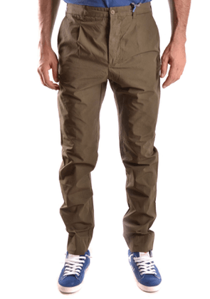 DANIELE ALESSANDRINI MEN'S MCBI26767 GREEN COTTON PANTS