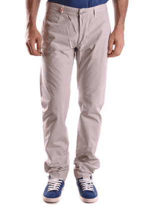 DANIELE ALESSANDRINI MEN'S MCBI26773 GREY COTTON PANTS