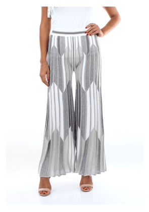 D. EXTERIOR Trousers Classics Women Silver and white