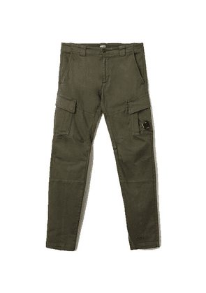 C.P. Company Garment Dyed Stretch Sateen Fitted Lens Pocket Cargo Pants Ivy Green
