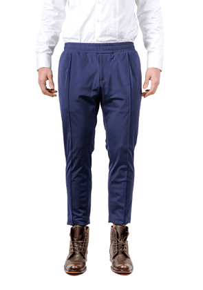 DANIELE ALESSANDRINI MEN'S P3671N882400023 BLUE COTTON PANTS
