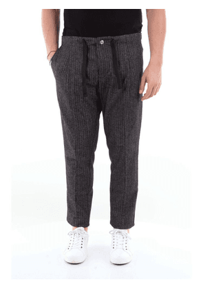 ENTRE AMIS MEN'S A20ORAZIO1546NERO BLACK COTTON PANTS