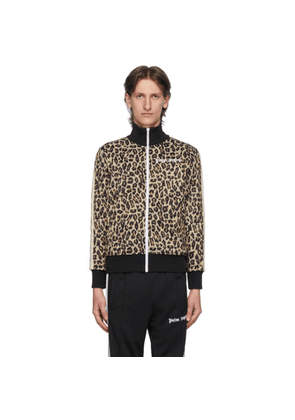 Palm Angels Beige and Black Leopard Track Jacket