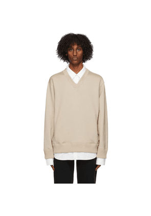 mastermind WORLD Beige Collared Sweatshirt