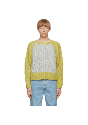 Eckhaus Latta Grey Knit Contrast Cable Sweater
