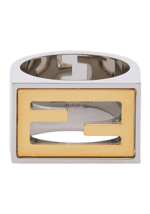 Fendi Silver and Gold Forever Fendi Signet Ring