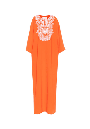 Embellished stretch-crêpe kaftan