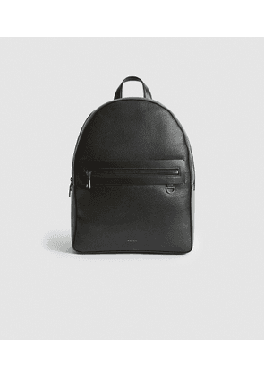 Reiss Ethan - Leather Backpack in Black, Mens