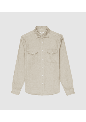 Reiss Duke - Twin Pocket Overshirt in Natural, Mens, Size S