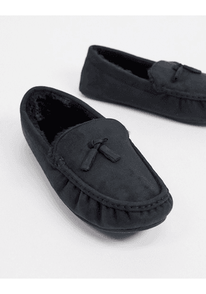 ASOS DESIGN moccasin slipper in black with faux fur lining