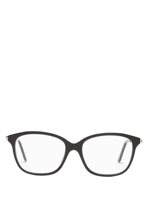 Cartier Eyewear - Trinity Square Metal And Acetate Glasses - Womens - Black Gold