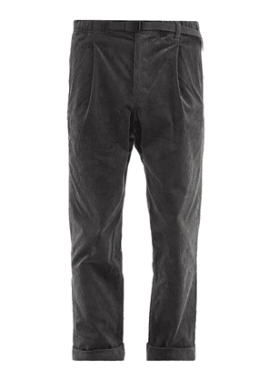 Gramicci - Belted Cotton-blend Corduroy Trousers - Mens - Grey