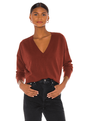 Autumn Cashmere Relaxed V Sweater in Rust. Size M,S.