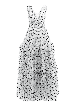 Dolce & Gabbana - Tiered Polka-dot Tulle Gown - Womens - White Multi