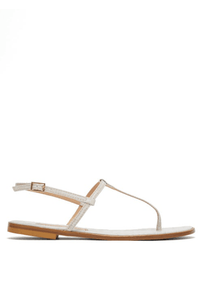 Avec Modération - St. Lucia Crocodile-effect Leather Sandals - Womens - White
