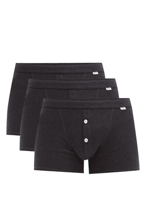 Schiesser - Pack Of Three Karl-heinz Cotton Boxer Briefs - Mens - Grey