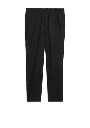 Drawstring Cotton-Linen Trousers - Black