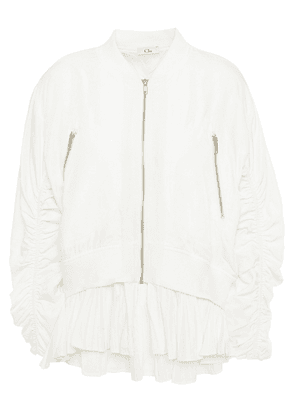 Clu Ruched Piqué Bomber Jacket Woman White Size S