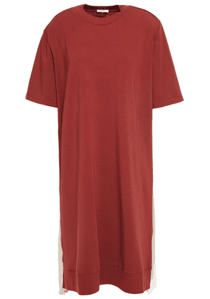 Clu Pleated Lamé, Poplin And Stretch Cotton And Modal-blend Dress Woman Brick Size M