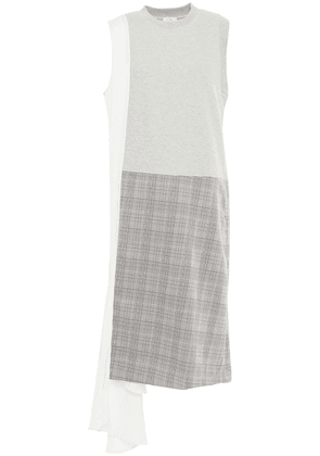Clu Paneled Prince Of Wales Checked Jacquard, Twill And French Cotton-blend Terry Dress Woman Light gray Size XS