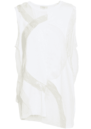 Clu Ruffled Lurex, Cotton-jersey And Silk-voile Top Woman White Size S