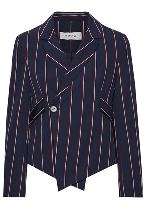 Derek Lam 10 Crosby Cropped Striped Woven Blazer Woman Navy Size 4