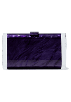 Edie Parker Lara Marbled Acrylic Box Clutch Woman Dark purple Size --