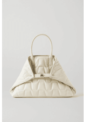 Akris - Ai Messenger Small Convertible Quilted Leather Tote - Off-white