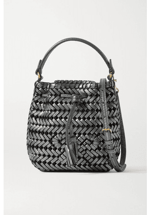 Anya Hindmarch - Neeson Drawstring Micro Woven Metallic Crinkled-leather Bucket Bag - Gunmetal