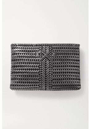 Anya Hindmarch - The Neeson Large Woven Metallic Leather Clutch - Gunmetal