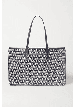 Anya Hindmarch - + Net Sustain I Am A Plastic Bag Small Leather-trimmed Printed Coated-canvas Tote - Navy
