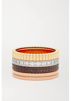 Boucheron - Quatre Classique Large 18-karat Yellow, White And Rose Gold, Pvd And Diamond Ring - 51