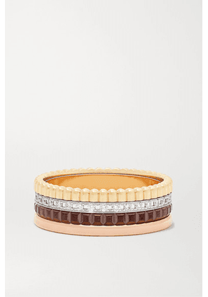 Boucheron - Quatre Classique Small 18-karat Yellow, White And Rose Gold, Pvd And Diamond Ring - 54